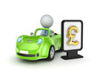 Green car and lightbox with golden dollar sign.