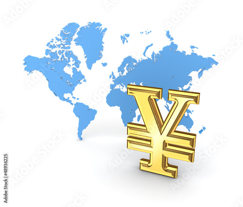 Yen symbol and map of the world.