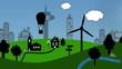 Skyline Cartoon Landschaft (Fahrt)