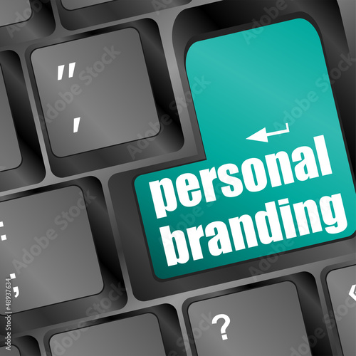 Wording personal branding on computer keyboard