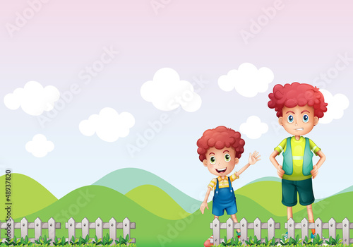 Two boys in the farm