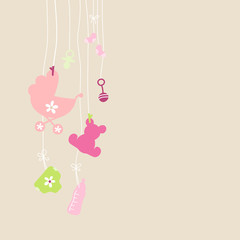 Card Hanging Baby Symbols Girl