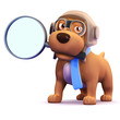 3d Pilot Dog with a magniffying glass