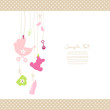 Hanging Baby Symbols Girl Dots Border