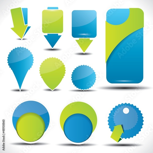 Blue and green special offer and sale labels and stickers