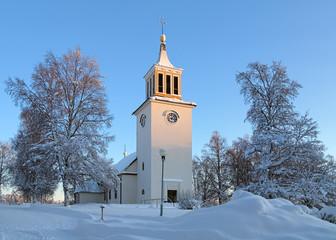 Dorotea Church in winter, Sweden