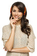 Smiling support phone operator woman in headset
