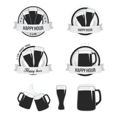 Set of monochrome happy hour labels, badges and beer icons