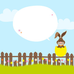 Bunny On Fence In Yellow Eggshell Speech Bubble