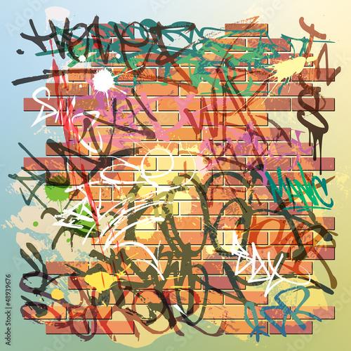 Fototapeten,graffiti,wand,backstein,grunge