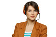 Smiling cheerful support phone operator woman in headset
