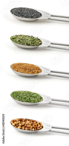Herbs measured in metal teaspoons