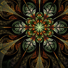 Colorful forest themed flower, digital fractal art design