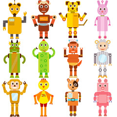A set of colorful and cute vector Icons : Twelve Zodiac Robots