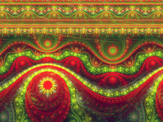 Festive christmas pattern, digital fractal art
