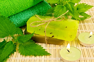 Soap green homemade with nettle and candles