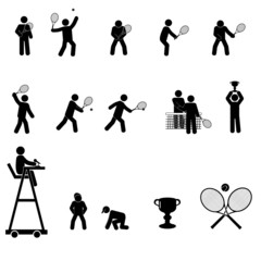 A set of tennis related icons