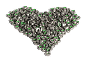 Metal nuts in the shape of heart isolated on white background