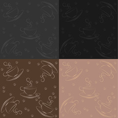 set of seamless pattern with cup of coffee