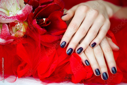 Dark fingernails and beautiful red flowers