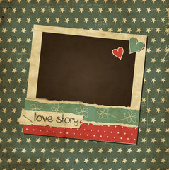 Scrap vintage card with photo frame and hearts