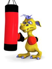 Cute cartoon monster punching a heavy bag.