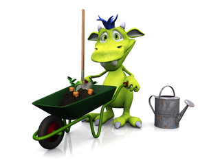 Cute cartoon monster ready for gardening.