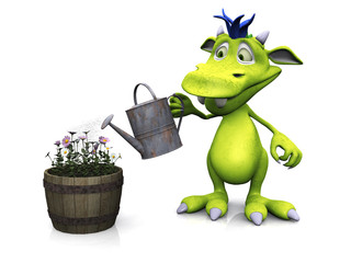 Cute cartoon monster watering flowers.