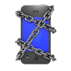 Chained smartphone from the front