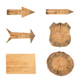 collection of various empty wooden sign on white background.