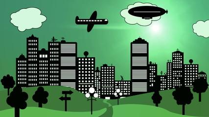 Stadt Skyline mit Wolkenkratzer und Flugzeug