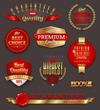 Set of premium & quality golden labels, signs and emblems