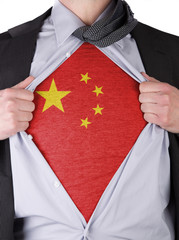 Business man with Chinese flag t-shirt