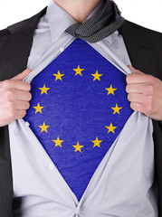 Business man with EU flag t-shirt