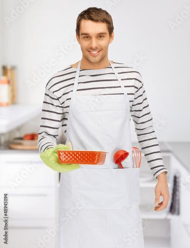 cooking man at kitchen