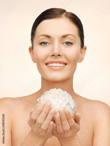woman with bath ball