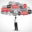 nuage de mots bulles silhouette : expertise client