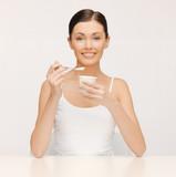 woman with yogurt