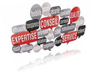 nuage de mots bulles 3d : expertise client