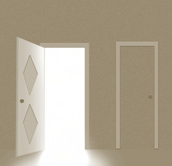 Abstract room with open door