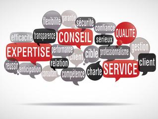 nuage de mots bulles :  expertise client