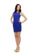 lovely woman in blue dress