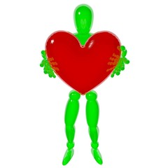 Human give heart 3d rendered isolated on white