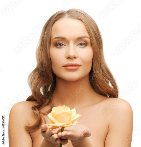 lovely woman with rose flower