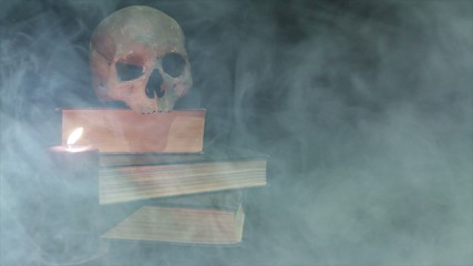 Human skull and voodoo doll in the smoke