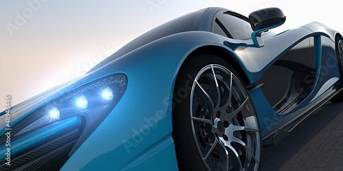 blue sportcar closeup