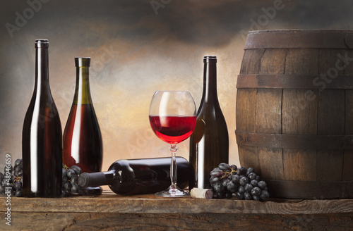 still life with beer  and old barrel