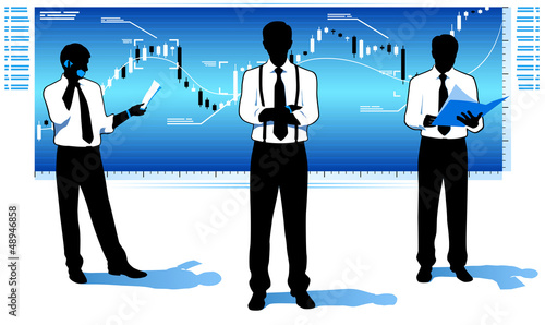 Businessmen with stock market chart.