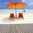 terrasse de promenade sur plage, île Maurice