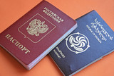 Official passports on red